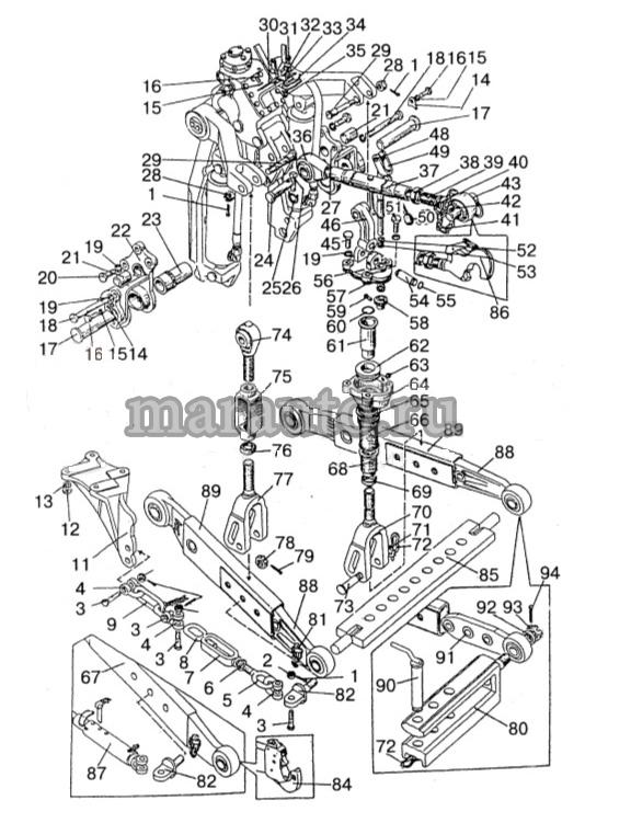Навесное устройство с гидроподъемником мтз-80/82