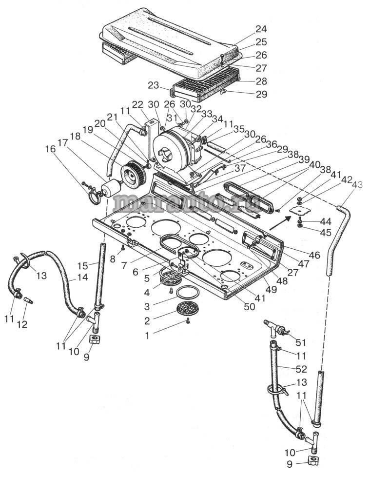 Отопитель мтз-80/82. Арматура отопителя