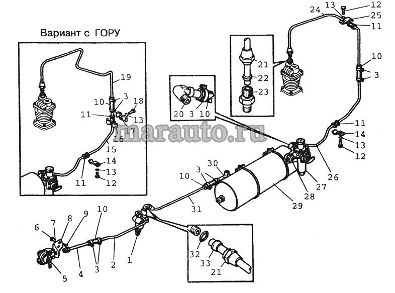 Трубопроводы и арматура пневмопривода тормозов прицепа